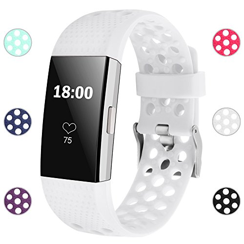 iGK Silicone Replacement Bands Compatible for Fitbit Charge 2, Adjustable Breathable Sport Strap Smartwatch Fitness Wristband with Air Holes All White Small