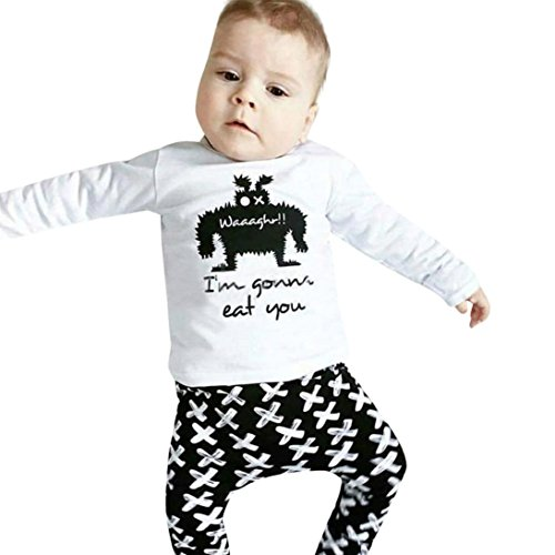 Baby Boys Clothing Set Monster Printed T-shirt with Pants - 7