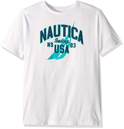 Nautica Men's Short Sleeve 100% Cotton Classic Logo Series Graphic Tee, Bright White, Medium