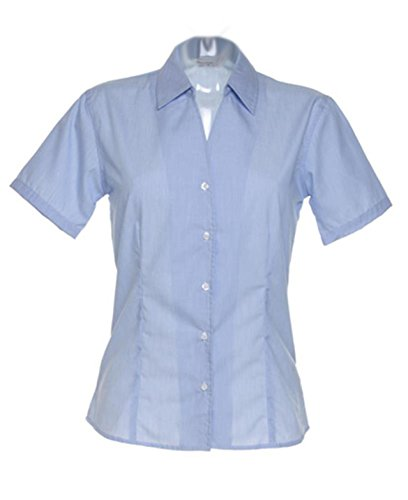 De mujer para Kustom Kit cuello incluye un botón de repuesto pantalón corto de deporte caro Fusion blusa de rayas de manga corta