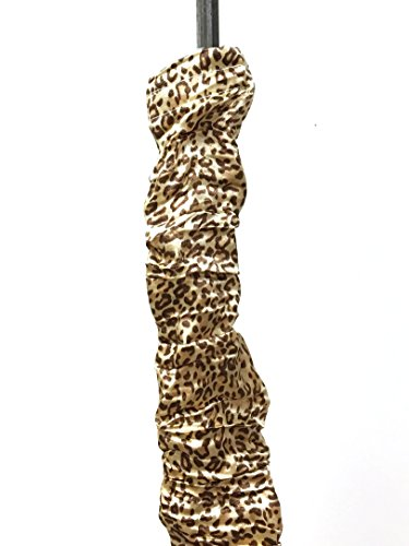 Royal Designs Gold-colored Leopard Animal Print Cord & Chain Cover- 4 feet- Silk-type Fabric Touch Fastener - Use for Chandelier Lighting Wires (Print Rod)