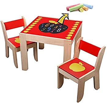 Amazon Com Labebe Wooden Activity Table Chair Red Apple