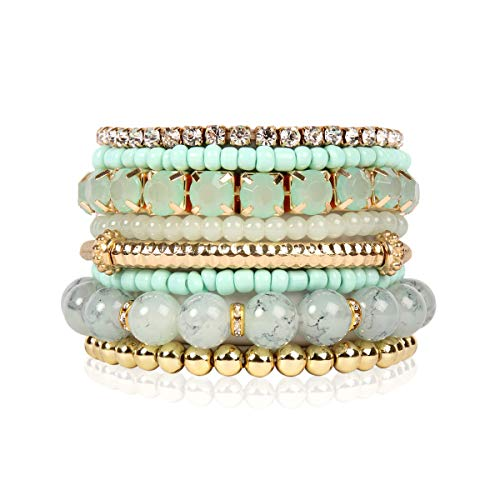 RIAH FASHION Multi Color Stretch Beaded Stackable Bracelets - Layering Bead Strand Statement Bangles (Original - Light Mint, 7)