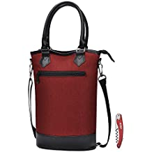 Kato Insulated Wine Tote Bag - Travel Padded 2 Bottle Wine/ Champagne Cooler Carrier with Handle and Shoulder Strap + Free Corkscrew, Great Wine Lover Gift, Red