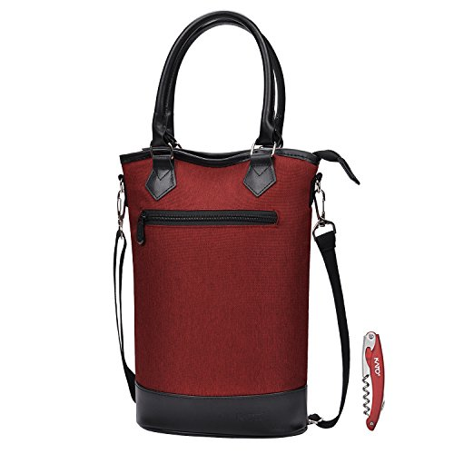 Kato Insulated Wine Carrier Tote - Travel Padded 2 Bottle Wine/Champagne Cooler Bag with Handle and Adjustable Shoulder Strap + Free Corkscrew, Great Wine Lover Gift, Red