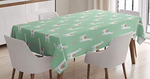 Ambesonne Llama Tablecloth, Cute Llama with Candy Cane Hearts Fun Pattern on Mint Green Background, Dining Room Kitchen Rectangular Table Cover, 60 W X 84 L Inches, Mint Green -