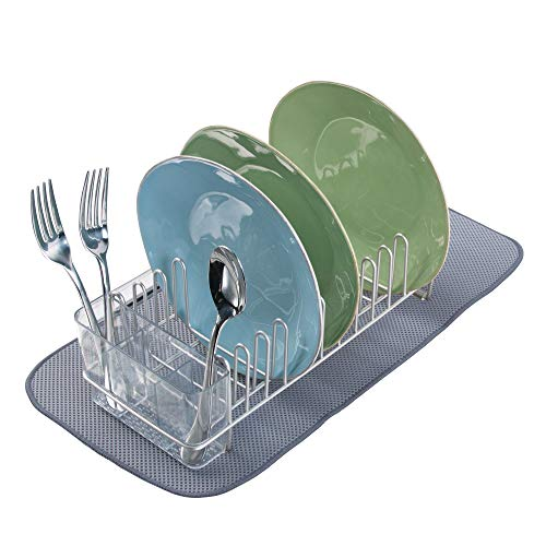 (mDesign Compact Modern Metal Dish Drying Rack and Microfiber Mat Set for Kitchen Countertop, Sink - Drain and Dry Wine Glasses, Bowls and Dishes - Removable Cutlery Tray - Set of 2 - Satin/Pewter Gray)