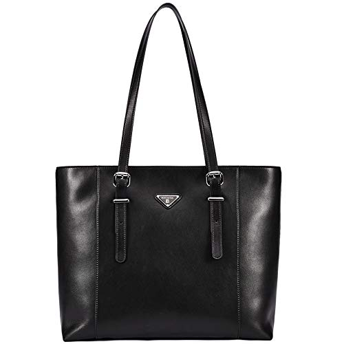 Women Briefcase Black Leather Laptop Tote Handbags