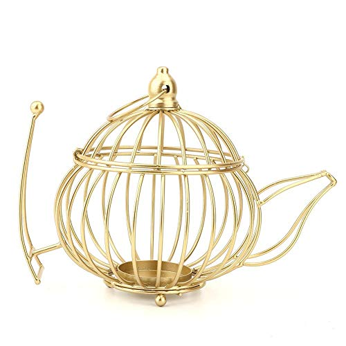 - KEYREN Candlestick Candle Holder Wrought Iron Candlestick Metal Tea Pot Shaped Hollow Design Candle Holders Home Decor (M)