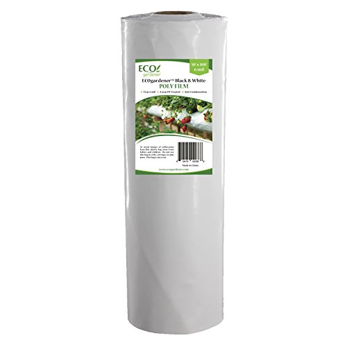 Black and White Poly Film - 10' x 100' 6mil, 4 Year UV Treated, Heavy Duty Polyethylene Sheeting by ECOgardener