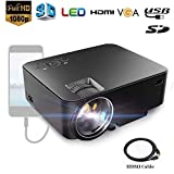 Dinly LED Projector, 1800 Lumens Video Projector Support HD 1080P HDMI VGA AV USB, Portable Projector for iPhone Laptop Andriod Smartphone PS4 Xbox TV Box Fire TV