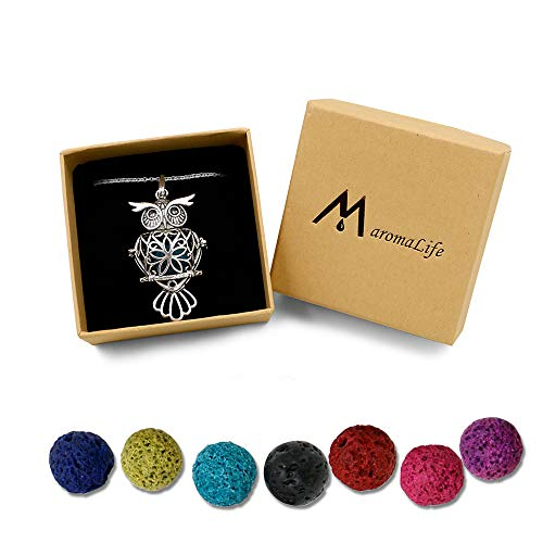Maromalife Lava Stone Diffuser Necklace Owl Necklace Aromatherapy Pendant Locket 24 Inches Chain Gift Set with 8 Color Lava Rock
