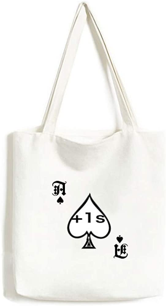 Chinese Joke Extend Life1 Second Handbag Craft Poker Spade Canvas Bag Shopping Tote