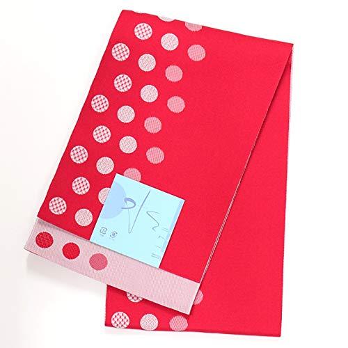 和道楽着物屋 【日本製】洗える細帯【ゆかた帯】 浴衣 ドット 赤 かわいい レトロ 番号b321-48 レディース 着物 和装