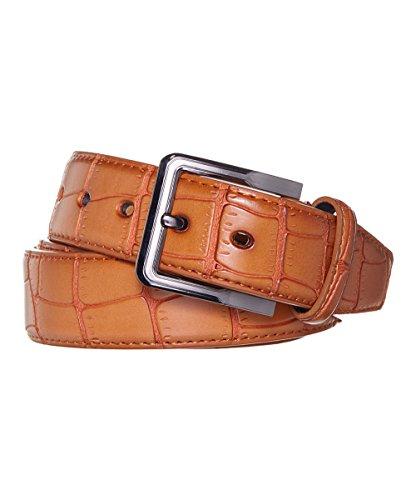 Men's Belt Crocodile Pattern -Assorted Colors (X-Large, - Crocodile Belt Brown