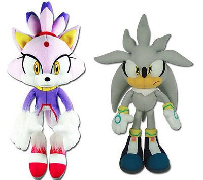 Great Eastern Sonic the Hedgehog Plush Set of 2 - Blaze the Cat (52636) & Silver Sonic (8960)