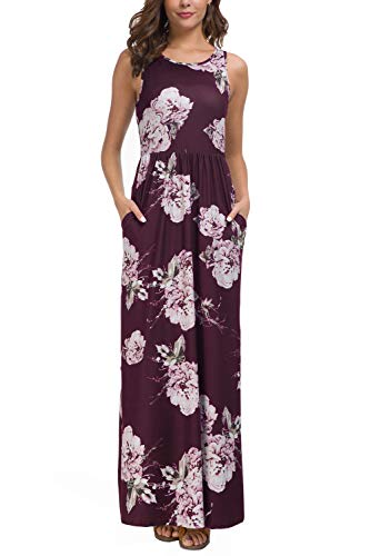 - Zattcas Maxi Dresses for Women,Womens Crew Neck Sleeveless Summer Floral Maxi Dress with Pockets,Dark Plum,Large