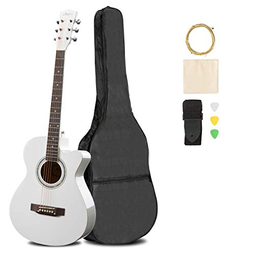 ARTALL 39 Inch Handmade Solid Wood Acoustic Cutaway Guitar Beginner Kit with Gig Bag, Strings, Picks, Strap, Glossy White