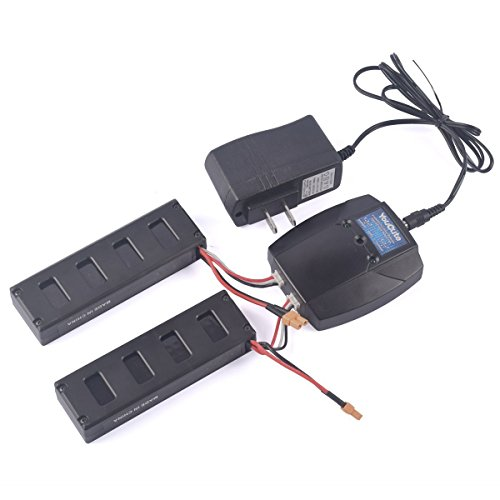 YouCute 2pcs 7.4V 1800mAh Battery and 1to2 charger for mjx B3 Bugs 3 RC quadcopter drone spare parts (2PCS 1800mAh batteries+charger) by YouCute