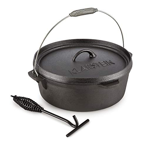 - KLARSTEIN HOTROD 60 DUTCH OVEN BBQ • Cast Iron Pot for Cooking • Frying • Baking • Open Fire • Dutch Oven Pot with 6.5qt / 5.7L • Extra-High Lid Rim • Easy Handling Through Lid