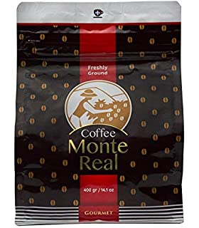 Monte Real Gourmet Arabica Premium Ground Roasted Dominican Coffee, Cacao Flavor, 400 gr