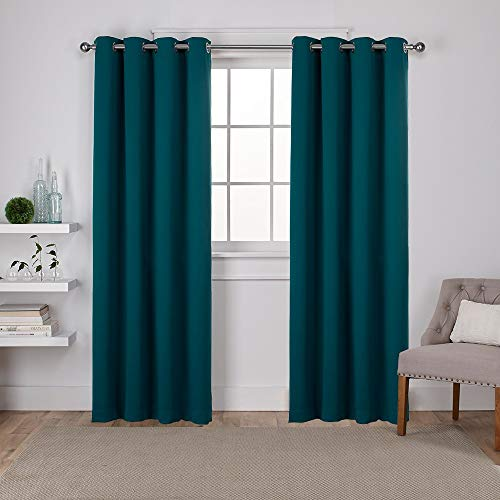 Exclusive Home Curtains Sateen Twill Woven Blackout Grommet Top Curtain Panel Pair, 52x84, Sapphire Teal, 2 Piece (Curtains Lined Teal)