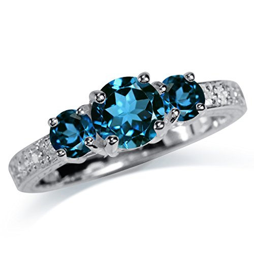 Silver Natural Stone Rings - 3-Stone Natural London Blue & White Topaz 925 Sterling Silver Ring Size 7.5