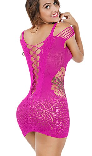 Vorifun Women Fishnet Lingerie See Through Sleepwear One Piece V-Neck Babydoll Mini Dress One Size (Rose Red) Fishnet Chemise Sexy Lingerie