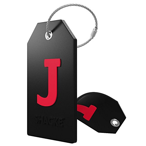 Initial Luggage Tag with Full Privacy Cover and Stainless Steel Loop (Black) (Suitcase Tag)