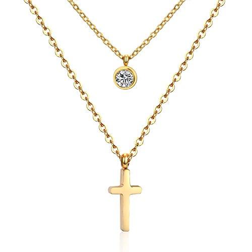 LUXUSTEEL Cross Pendant With Crystal Stainless Steel Necklaces For Women & Men - Pendant Cross Double