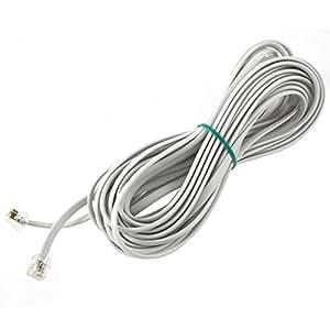 DealMux 6P6C RJ11 de extensión de teléfono del módem por cable de línea de fax 33 pies Longitud blanca