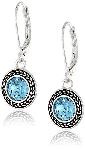 "Napier ""Color Declaration"" Silver-Tone Aqua Swarovski Stone Leverback Drop Earrings"
