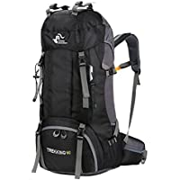 60L Outdoor Mountaineering Bag Large Capacity Waterproof Fashion Foldable Backpack for Hiking Camping Fishing Traveling (Black)