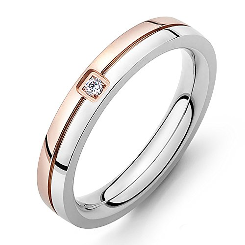 [Efloral His & Hers Stainless Steel Couples Inlay Ring Wedding Promise Birthday Gift Use] (Gypsy Costume Couple)