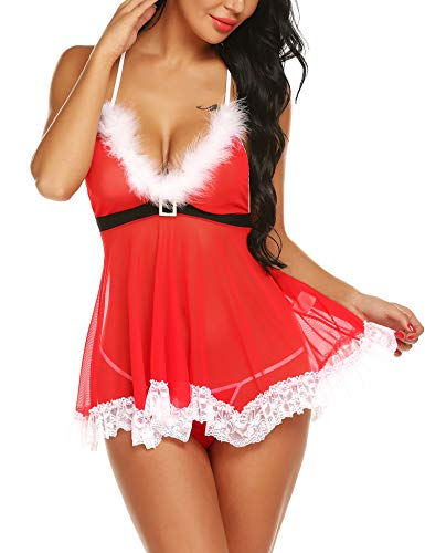 RSLOVE Lingerie for Women for Sex Women's Sexy Santa Christmas Lingerie Set Babydoll Lace Chemises Sleepwear Red L (Womens Plus Size Sexy Costumes)