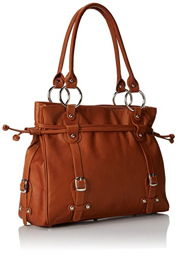 (Claire Chase Catalina Ladies Leather Handbag, Computer Bag in Saddle )