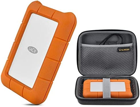 LaCie 5TB Rugged USB 3.0 Type-C Portable External Hard Drive HHD (STFR5000800) with Slinger Hard Drive Case, Includes 1 Month Adobe CC