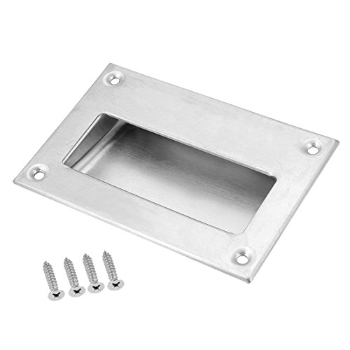 (uxcell 5 Inch x 3-1/4 Inch 304 Stainless Steel Recessed Flush Pull Finger Insert Chest Handle)