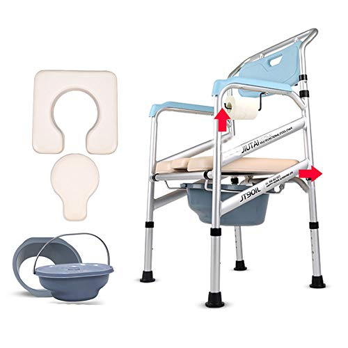 - Aluminum Alloy with Armrests Commode Toilet Raised Toilet Seat Toilet Shower Chair Heavy Medical Safety Belt Cushion Load 150kg (330 Lbs)