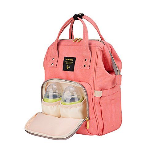 Pink Rosa Papá Para Bolsa Viaje Mochila Sunveno Impermeable naranja Y Pañales De Con Mamá Orange Organizador El Aislado Cambiadora La Bolsillo URqxw7