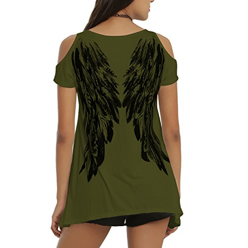 Tulucky Womens Fashion Angel Wing Loose T Shirts Cutout Shoulder Irregular Tops (L, ()