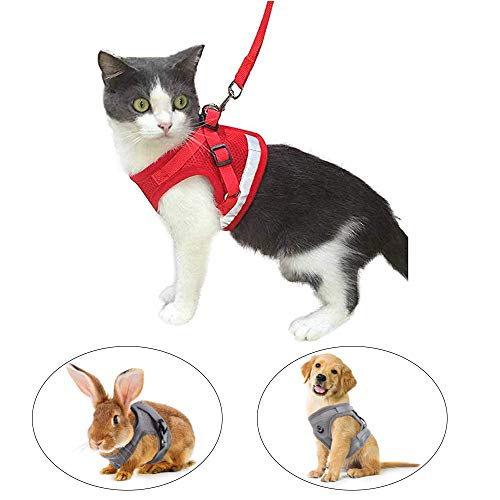 Kamots Beauty Escape Proof Cat Harness and Leash for Walking Adjustable Soft Mesh Pet Vest with Lead for Kitten Puppy Rabbit -(Red,XS)