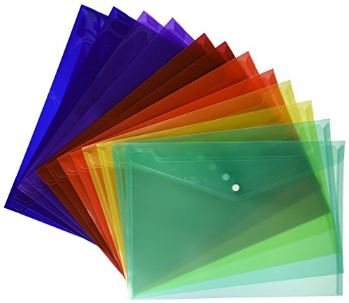 Plastic Folio - Lightahead LA-7550 Clear document folder with snap button,Premium Quality Poly Envelope, US LETTER / A4 size, Set of 12 in 6 assorted Colors, Blue, Green, Orange, Yellow, Purple, Maroon
