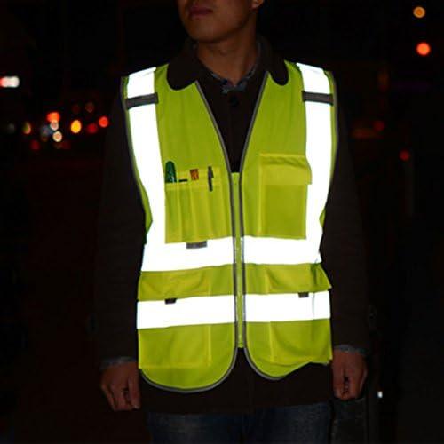 mit Mehrere Vordertaschen und Rei/ßverschluss FEOYA Warnwesten Sicherheitswesten Hochsichtbare Weste Reflektorweste Herren Arbeitsweste
