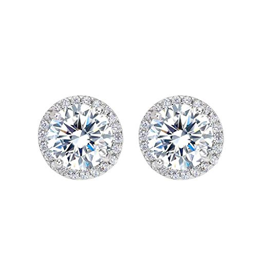 EleQueen 925 Sterling Silver Full Cubic Zirconia Halo Round Bridal Pierced Stud Earrings 11mm
