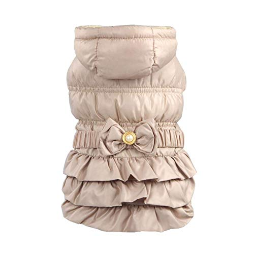 ZeroTone Princess Dog Dress, Warm Winter Hooded Dog Coat Suitable for Small Medium Dog Puppy Cat Beige XL Review