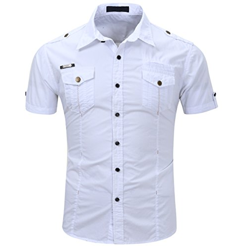 HULANG Mens Military Short Sleeve Twill Work Shirts Casual Button Down Shirts Pockets (1-White, Large)