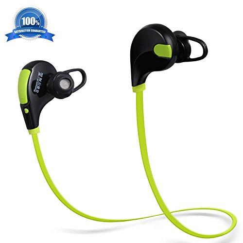 Atill Bluetooth Headphones, In-Ear Sweatproof Running Wireless 4.1 Earphones with Mic for Smartphones - Green