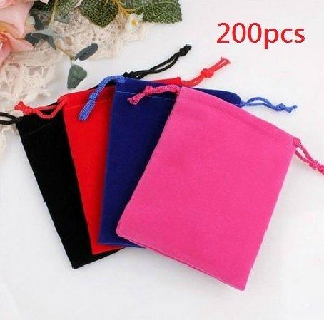 """Saitec Wholesale Lot - Velvet Cloth Jewelry Pouches / Drawstring Bags 3"""" X 4"""" (200x Assorted Colors) SIT1681 from Saitec"""