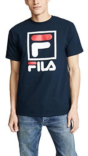 (Fila Men's Stacked Tee Shirt, Navy/White/Chinese Red, Medium)